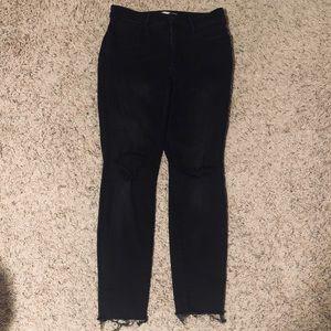 Madewell Petite High-Waist Black Destructed Jeans